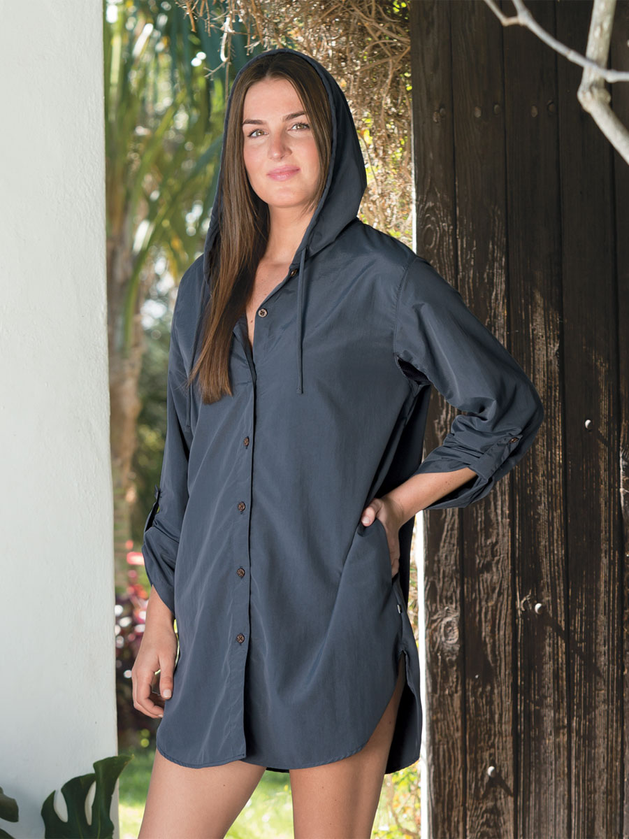 c7a980136f9 Women's Button Front Hooded Cover-Up