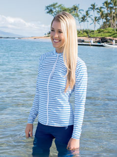 Women's Striped Zip Front Swim Shirt