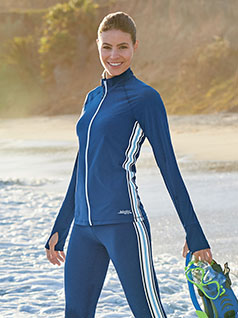 Women&#39;s WaterShade<sup>&#174;</sup> Full Zip Swim Shirt with Side Stripe