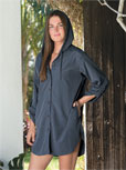 View Women's Button Front Hooded Cover-Up